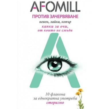 Afomill (Афомил) Капки за очи против зачервяване, с невен, лайка, копър, 5мл, 10 флакона