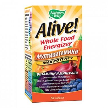 Alive (Алайв) Мултивитамини, витамини и минерали, 1г, 60 таблетки, Nature's way
