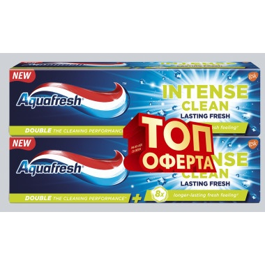 Aquafresh Intense Clean Lasting Fresh паста за зъби 75мл 1+1 DUO pack