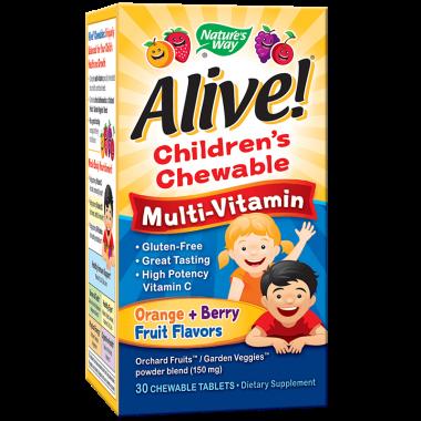 Alive (Алайв) Мултивитамини за деца, 30 дъвчащи таблетки, Nature's way