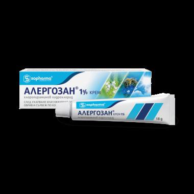Алергозан, Крем при ухапване от насекоми, обрив и сърбеж по кажата, 18гр, Sopharma