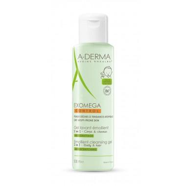 A-derma Exomega Control 2в1 емолиентен почистващ гел за коса и тяло 500мл