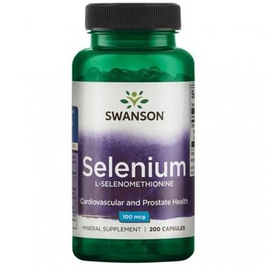 Селен (Л-селенометионин) - спомага за нормалната функция на щитовидната жлеза 100мкг капсули х 200, Swanson