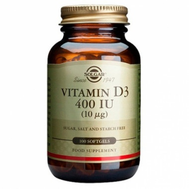 Витамин D3, 400UI, 100 капсули, Solgar