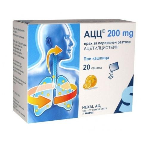 АЦЦ при кашлица, 200мг, 20 сашета, Sandoz