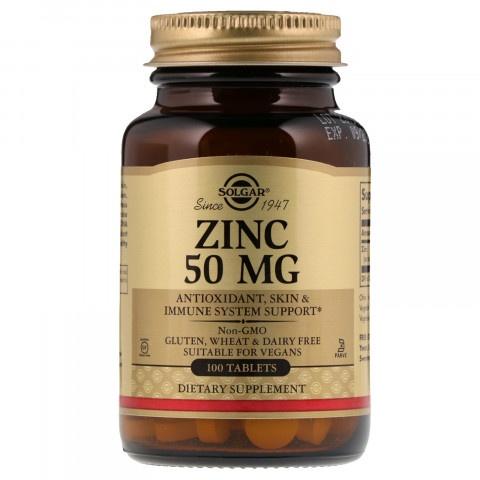 Цинк, антиоскидант, за кожа, имунна защита, 50мг, 100 таблетки, Solgar