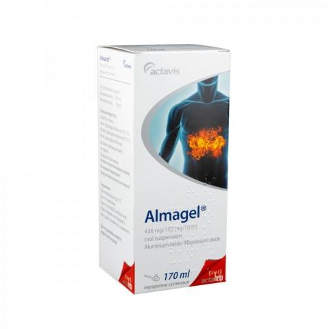 Алмагел - за намаляване на повишена стомашна киселинност, суспензия 170мл, Actavis