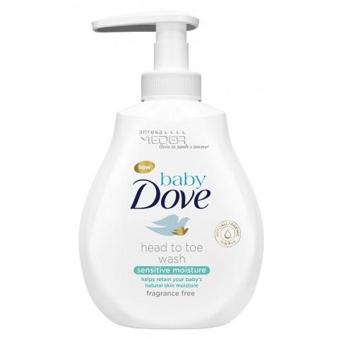 Dove Baby Sensitive Измиващ лосион за коса и тяло за бебета 400 мл
