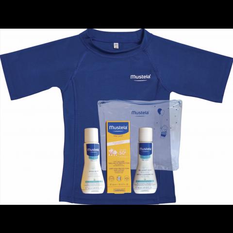 Mustela комплект UV защита (Слънцезащитен лосион SPF50+ 40мл. + 2 мини продукта + тениска с UV защита UPF40+ )