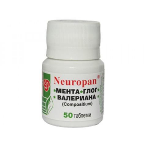 Neuropan Мента, Глог, Валериана, 50 таблетки, Панацея