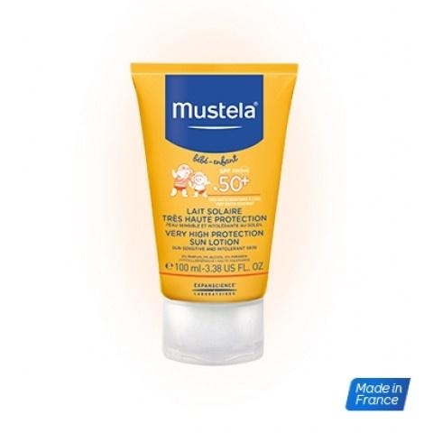 Mustela Bebe Слънцезащитен лосион SPF50+ за лице и тяло за бебета и деца от деня на раждането 100мл