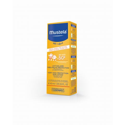 Mustela Bebe Слънцезащитен лосион SPF50+ за лице и тяло за бебета и деца от деня на раждането 40мл