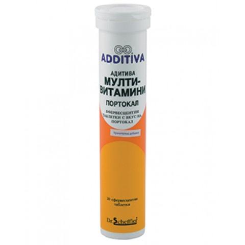 Адитива Мултивитамини + Минерали, портокал, 20 ефервесцентни таблетки