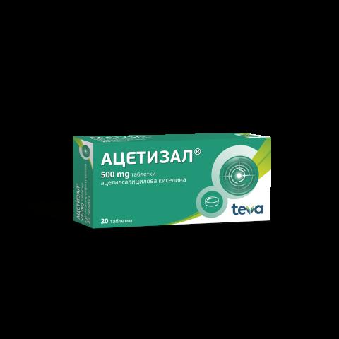 Снимка на Ацетизал, при настинка и грип, главоболие, мускулни и ставни болки, 500мг, 20 таблетки, Actavis за 1.99лв. от Аптека Медея