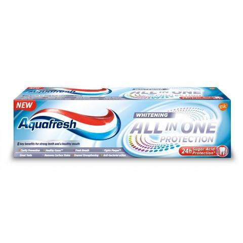 Снимка на AQUAFRESH ALL IN ONE WHITENING ПАСТА ЗА ЗЪБИ 75МЛ за 3.51лв. от Аптека Медея