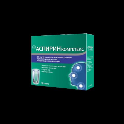 Аспирин Комплекс при простуда, 500мг, 10 сашета, Bayer