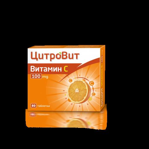Цитровит Витамин C, 100мг, 80 таблетки, Actavis