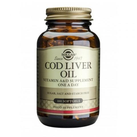 Масло от черен дроб на треска, с Омега 3 мастни киселини, Витамини А и D, 100 капсули, Solgar