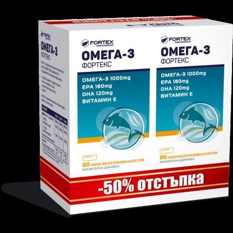 Снимка на Fortex Омега 3, 1000мг, 90 капсули 1+1 ПРОМО за 20.29лв. от Аптека Медея