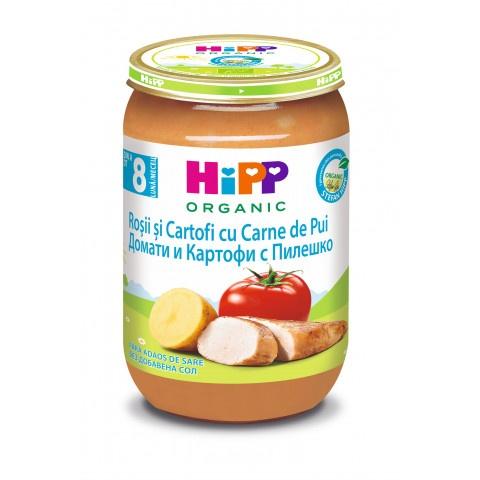 HiPP Био пюре пиле с картофи и домати, след 8 месeц 220гр.