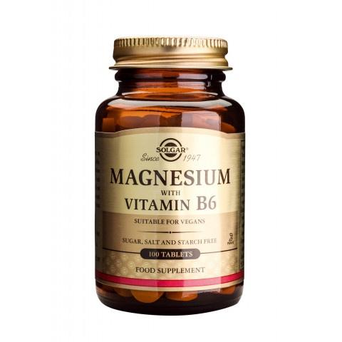 Магнезий + Витамин B6, 100 таблетки, Solgar