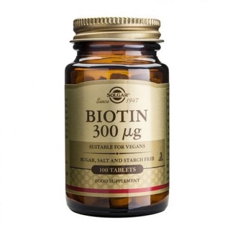 Биотин, 300мкг, 100 таблетки, Solgar