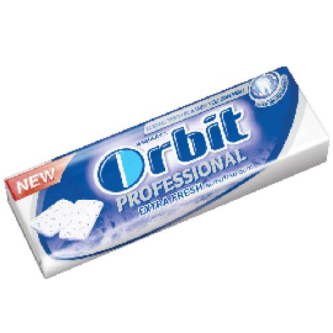 Снимка на Orbit Professional Extra Fresh дъвки без захар, с подсладители и вкус мента х 10 драже за 1.19лв. от Аптека Медея