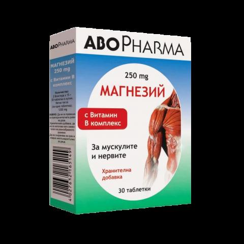 Снимка на Магнезий + Витамин B-Комплекс за мускулите и нервите, 30 таблетки, Abopharma за 8.59лв. от Аптека Медея