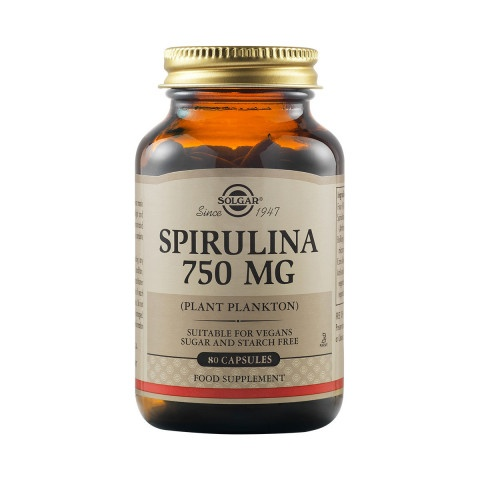 Снимка на Spirulina (Спирулина) растителни капсули 750мг х 80, Solgar за 47.49лв. от Аптека Медея