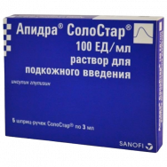 АПИДРА СОЛОСТАР ФЛ 100IU/МЛ 3 МЛ X 5